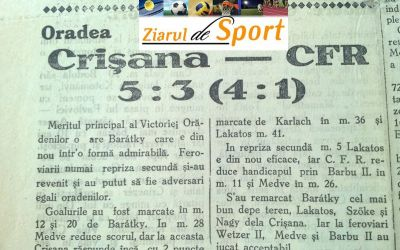 Crâmpei de istorie: acum 80 de ani, Baratky era erou la Crișana Oradea