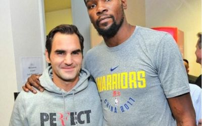 VIDEO / Roger Federer, liliputan printre vedetele lui Golden State Warriors
