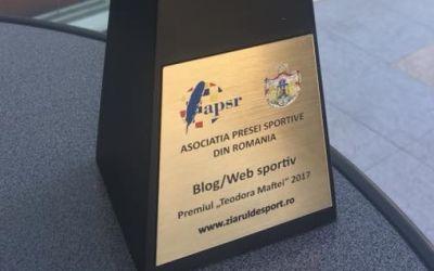Site-ul www.ziaruldesport.ro, premiat de Asociația Presei Sportive