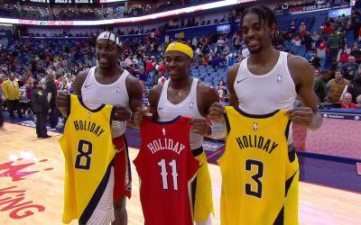 VIDEO Inedit / Trei frați au jucat în premieră în același meci în NBA