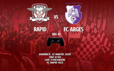 Rapid va juca meciul cu FC Argeș în mediul virtual, prin FIFA 20 Pro Clubs, iar fanii pot cumpăra bilete