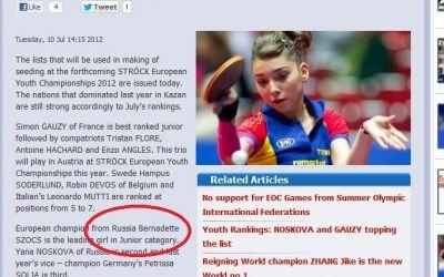 EXCLUSIV / Forul european de tenis de masă scrie că Bernadette Szocs este din Rusia