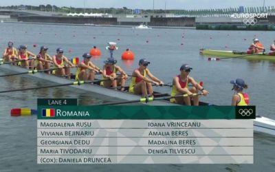Au tras în contratimp. Echipajul feminin de 8+1 a terminat pe 6 finala olimpică
