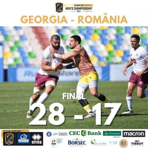 Naționala de rugby a României, învinsă de Georgia, scor 28-17